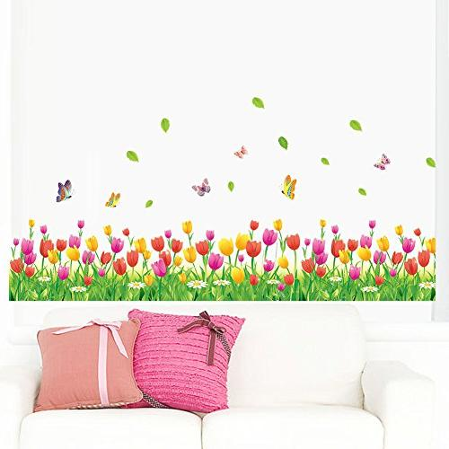 amaom removable colorful tulip flowers