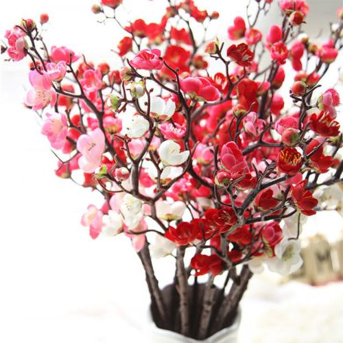 Artificial Fake Flowers Cherry Plum Blossom Party Office Bedroom