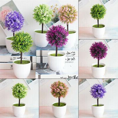Artificial Potted Flower Plant Topiary Ball Tree Bonsai Home