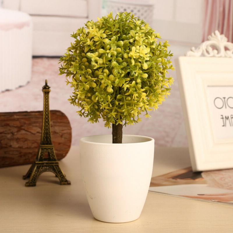 Artificial Flower Topiary Tree Home Desk Decor