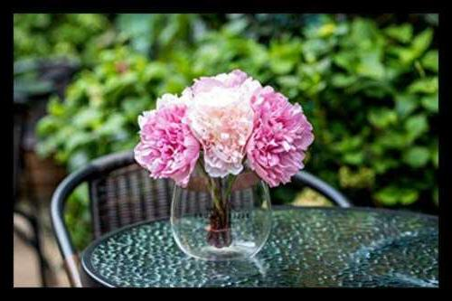 Artificial Vase Fake Peony Glass For Home Office