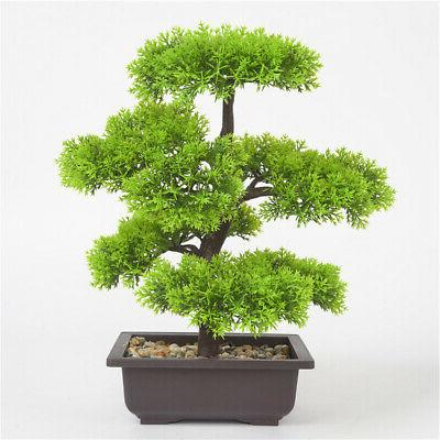 Fake Artificial Green Plant Bonsai Potted Simulation-Pine Tr