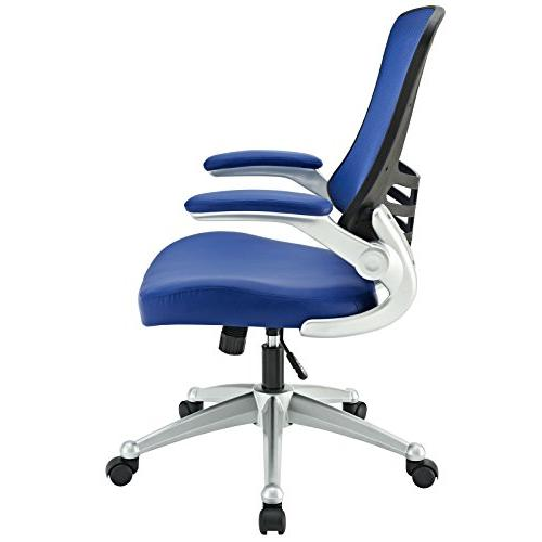 Modway Mesh And Blue Vinyl Office Chair With Flip-Up Arms And