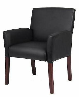 b619 box arm guest chair with mahogany