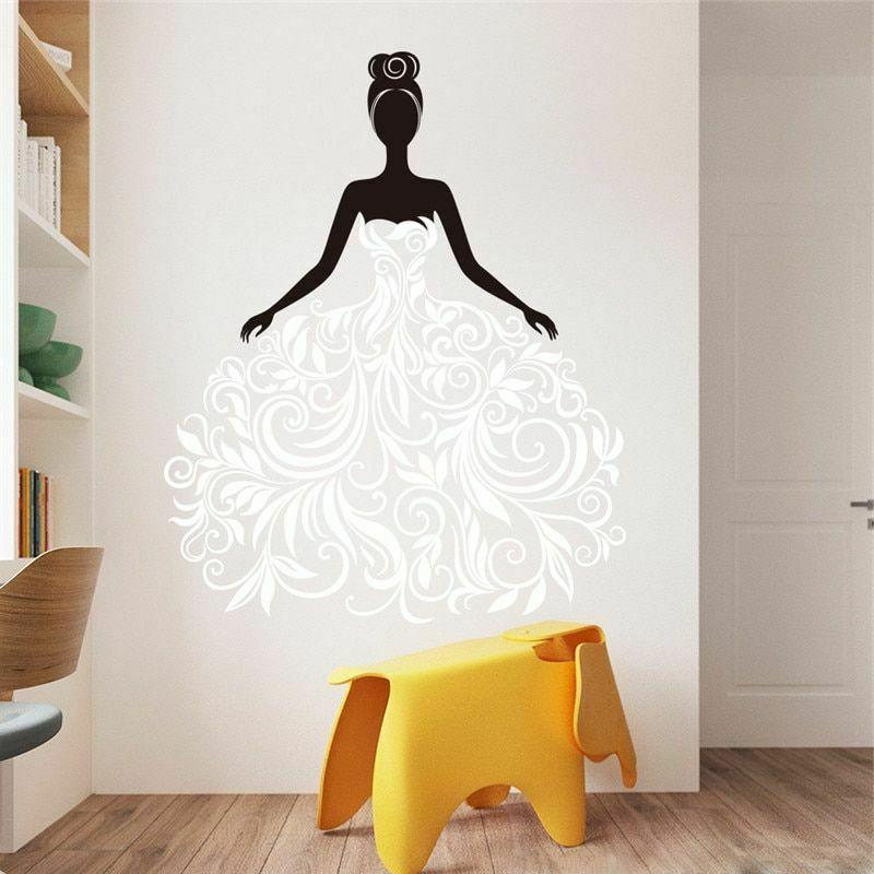 Black Vine Girl Stickers Home Decor Living Office