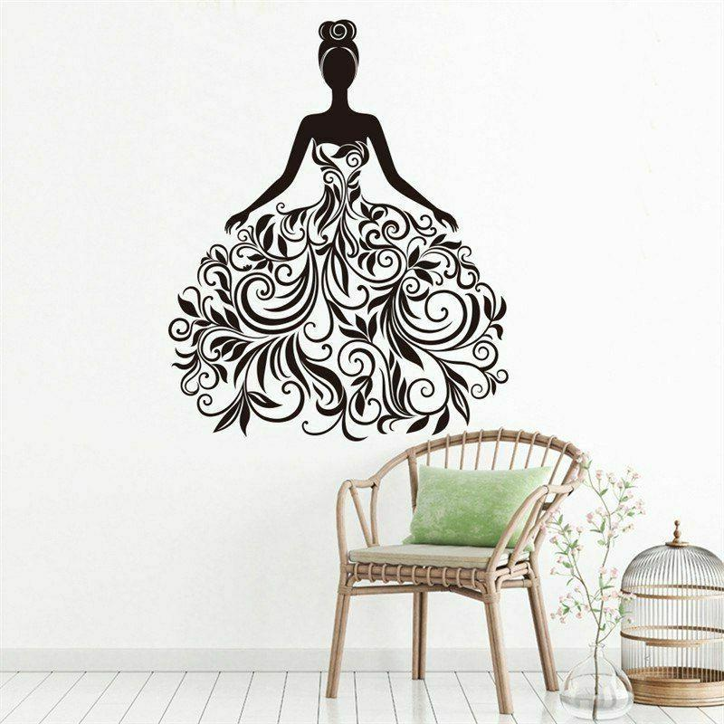 black flower vine fashion girl wall stickers