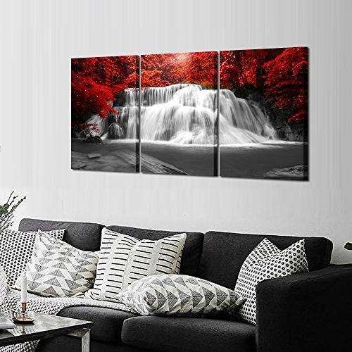 Kreative Art Pieces Red Woods Waterfall Canvas Landscape Paintings Framed for and Home Décor 16x24inchx3pcs