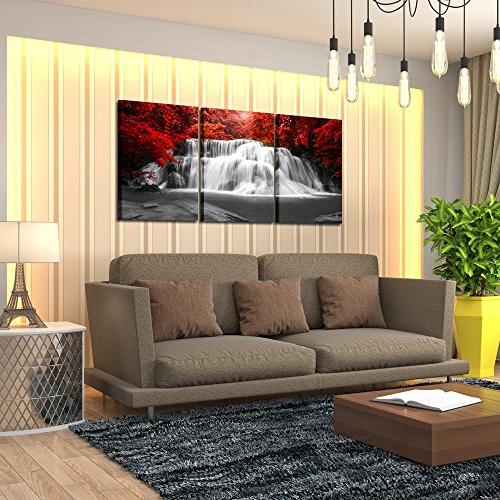Kreative Arts Black and Red Art 3 Pieces Landscape for Office Home Décor Ready to 16x24inchx3pcs