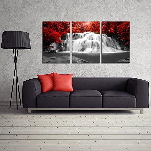 Kreative Arts Black and Red Canvas Art Red Woods Waterfall for and Décor to 16x24inchx3pcs