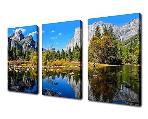 canvas painting mountain lake wall art nature picture pieces