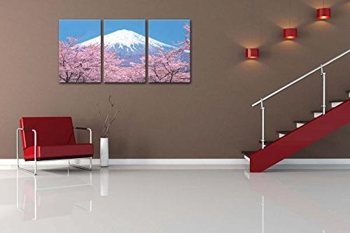 Canvas Print Painting Peak Of Fuji With Blossom In Blue View From In Spring Pieces Panel Paintings Modern Stretched And The Picture Living Room Decoration Landscape Pictures Photo Prints Canvas