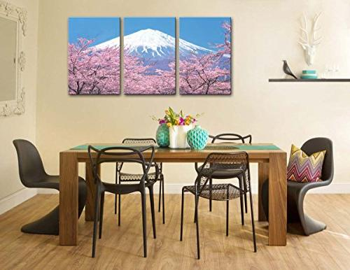 Peak Of With From Kawaguchiko In Spring Panel Paintings Modern Giclee Stretched And The Room Photo