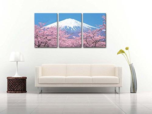 Canvas With Cherry Blossom In Blue From Japan In 3 Pieces Panel Stretched And Artwork The Room Landscape Photo Prints
