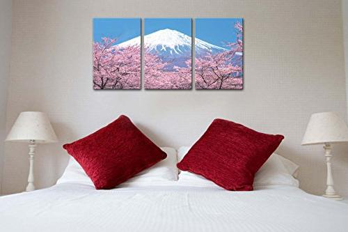 Canvas Painting For Home Peak Mount With Cherry Blossom In Sky From In 3 Pieces Panel Paintings Giclee Stretched Framed The Picture Room Photo