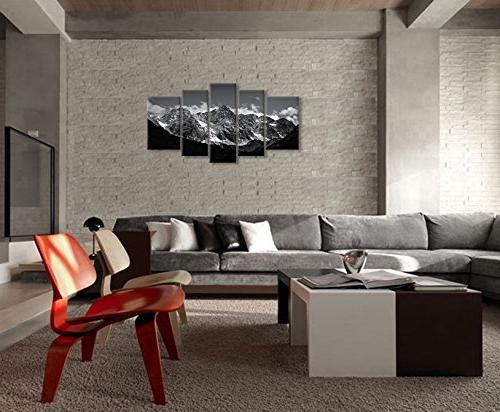 Canvas Art For And White Picture 5 Modern Giclee Framed Artwork The Pictures For Decoration Snow Mountain Prints