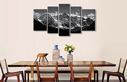 Canvas Wall For And White Landscape 5 Modern Framed Artwork The For Snow Mountain Photo Prints On