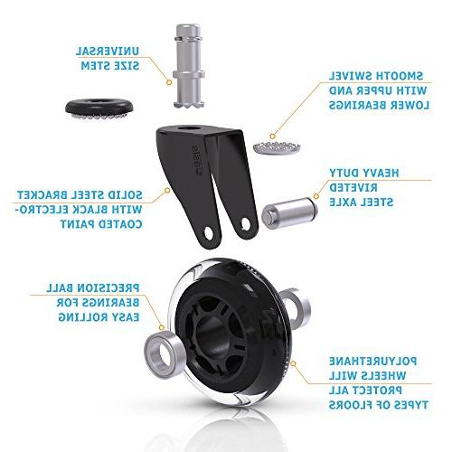 Office Chair Caster - Duty Safe All Including Hardwood Perfect Replacement Mat - Rollerblade w/Universal