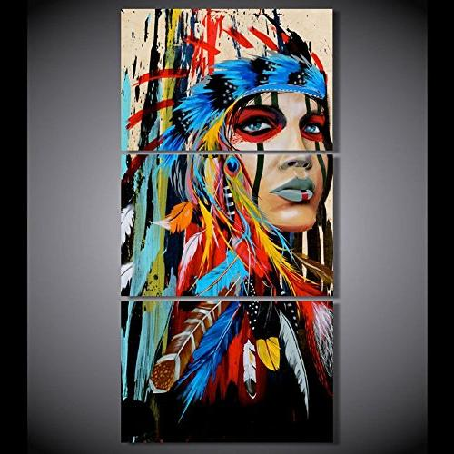 3 Western Artwork Black Canvas Beauty Indian Feathered Women Home HD