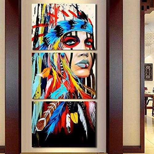 3 Chief Artwork and Canvas Indian Maiden American Feathered Modernism Wall Decor Picture HD