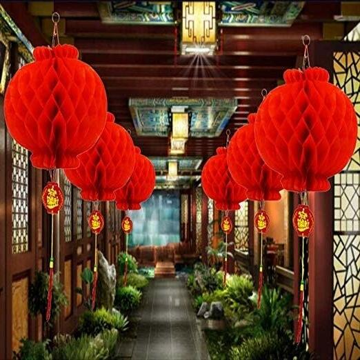 Ess Red Lanterns Decoration Tet Party Office 16