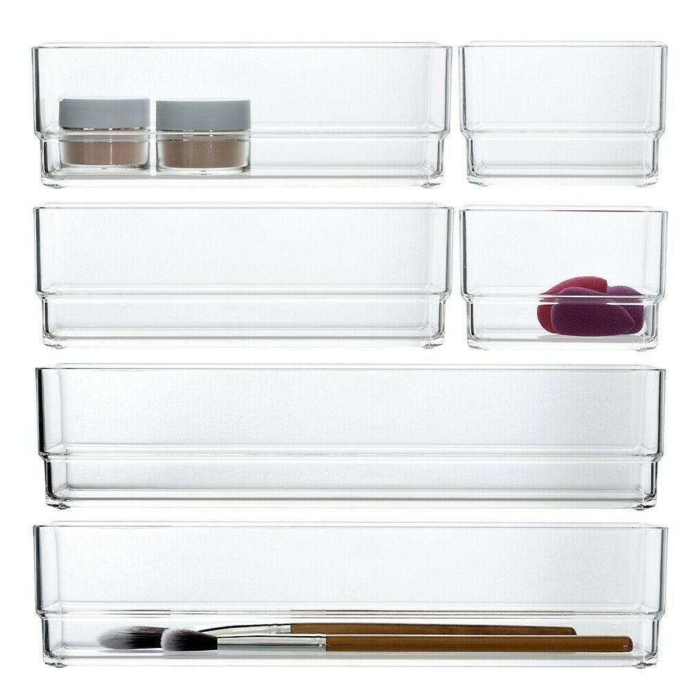 clear plastic drawer organizers set