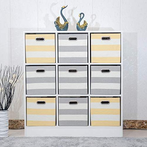 Posprica Collapsible for Nursery,Office,Closet,11 Fabric Drawers,4pcs Grey-White