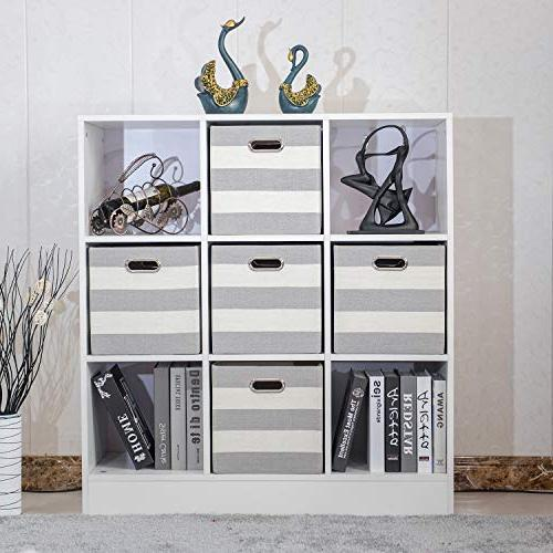 Posprica Collapsible Storage Cube Bins Containers for inch Drawers,4pcs Striped