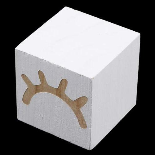 Solid Wood Cube Eyelash Cube Decoration Home Room Office Acc