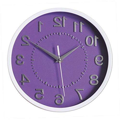 decor silent wall clock purple
