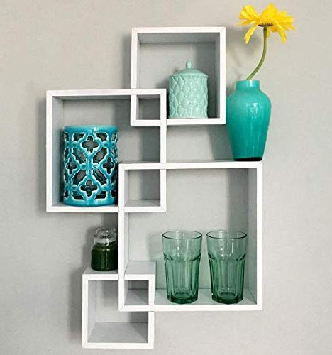 Greenco Decorative Intersecting Wall Floating Shelves- White