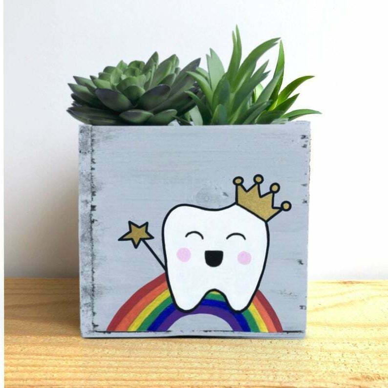 Dentist Planter Personalized Tooth Fairy Bin -