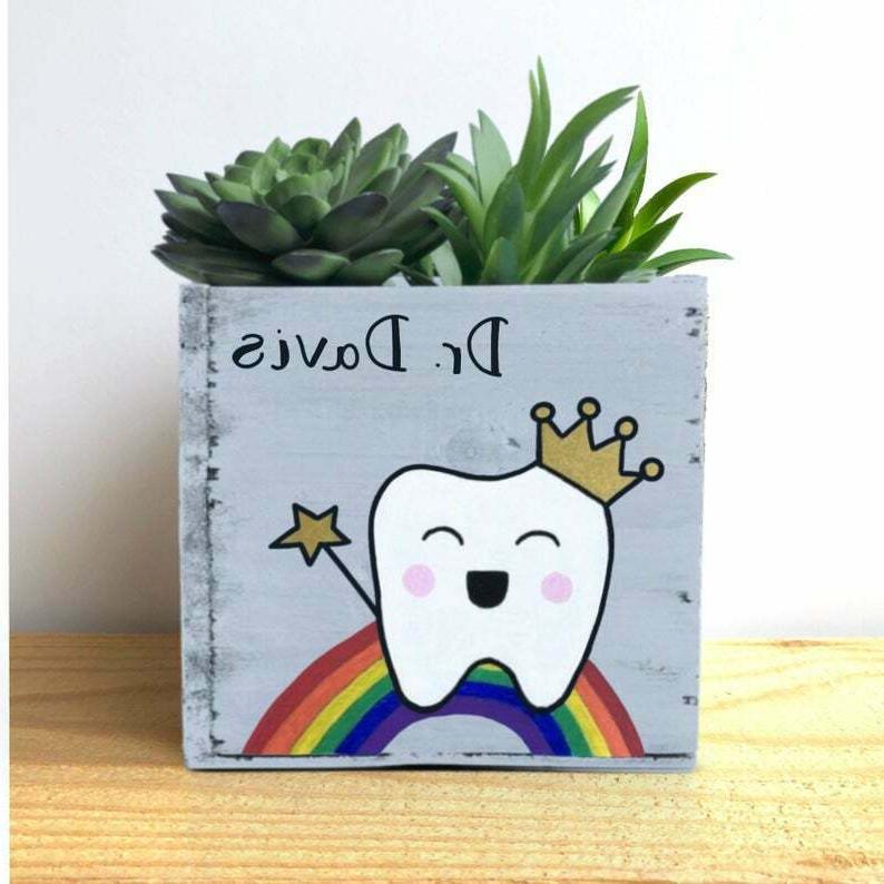 dentist planter gift personalized tooth fairy bin