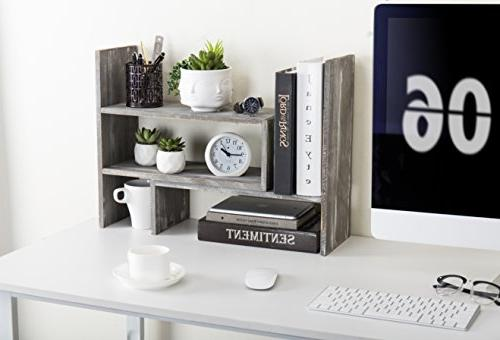 Distressed Adjustable Desktop Shelves