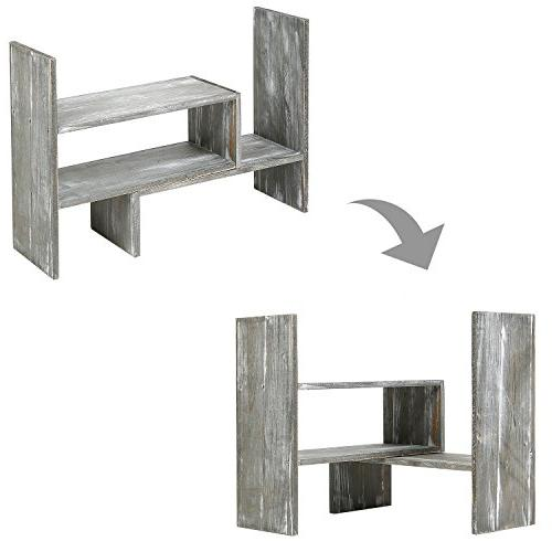 Distressed Gray Desktop Bookshelves, Shelves