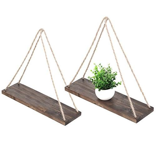 distressed wood hanging swing rope