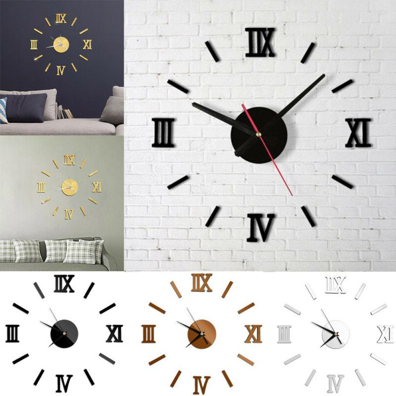 DIY Wall Clock Watch 3D Acrylic Art Stickers Decals Modern H