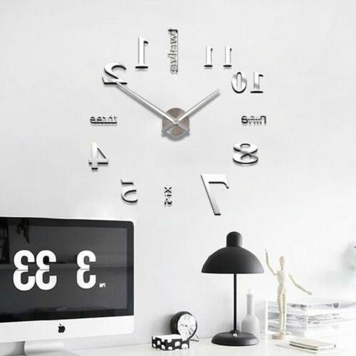 DIY Wall Clock 3D Acrylic Art Stickers Decals Office Decor