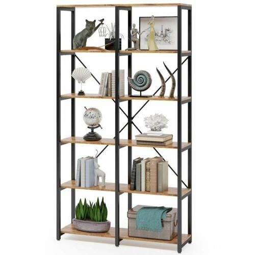 Double Wide Open Bookcase 6-Tier Etagere Bookshelf for Home