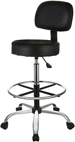 AmazonBasics Drafting Stool with Adjustable Foot Rest - Blac