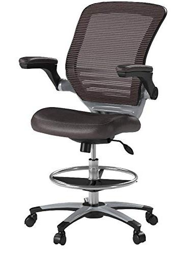 Modway Edge In Brown Vinyl Tall Office For Adjustable Desks - Flip-Up Arm Drafting Chair