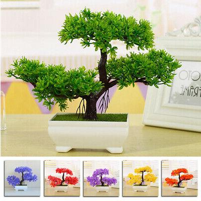 fake artificial green plant bonsai potted simulation
