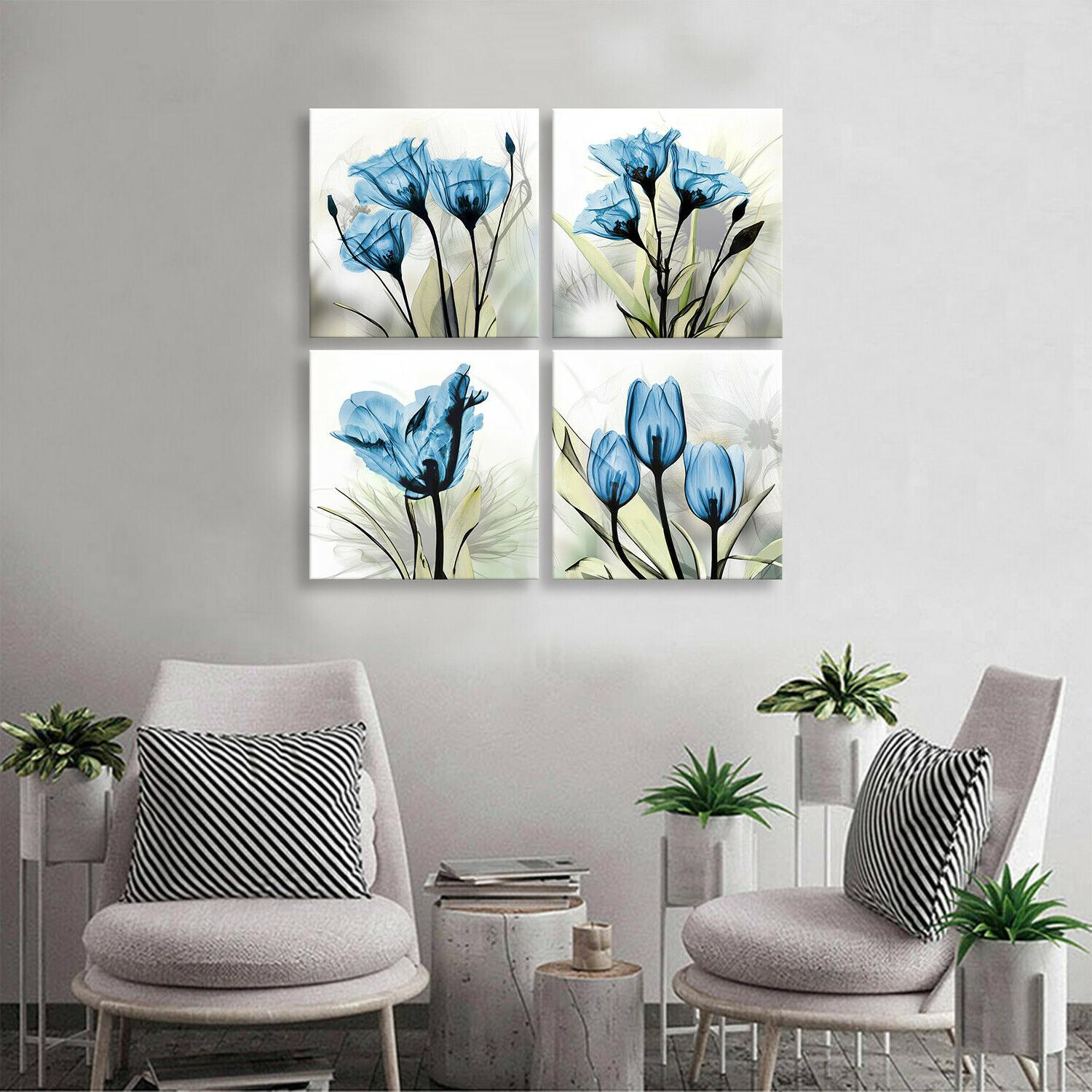Flower Decor Blue Paintings for Bathroom