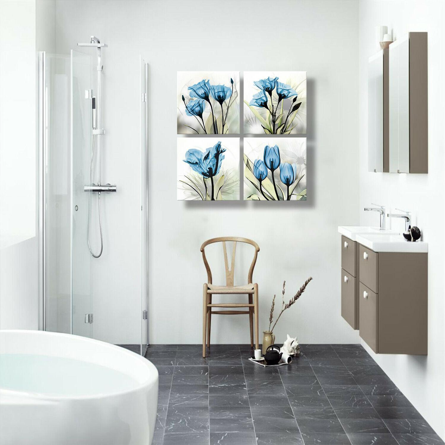 Flower Canvas Decor for Bathroom Office
