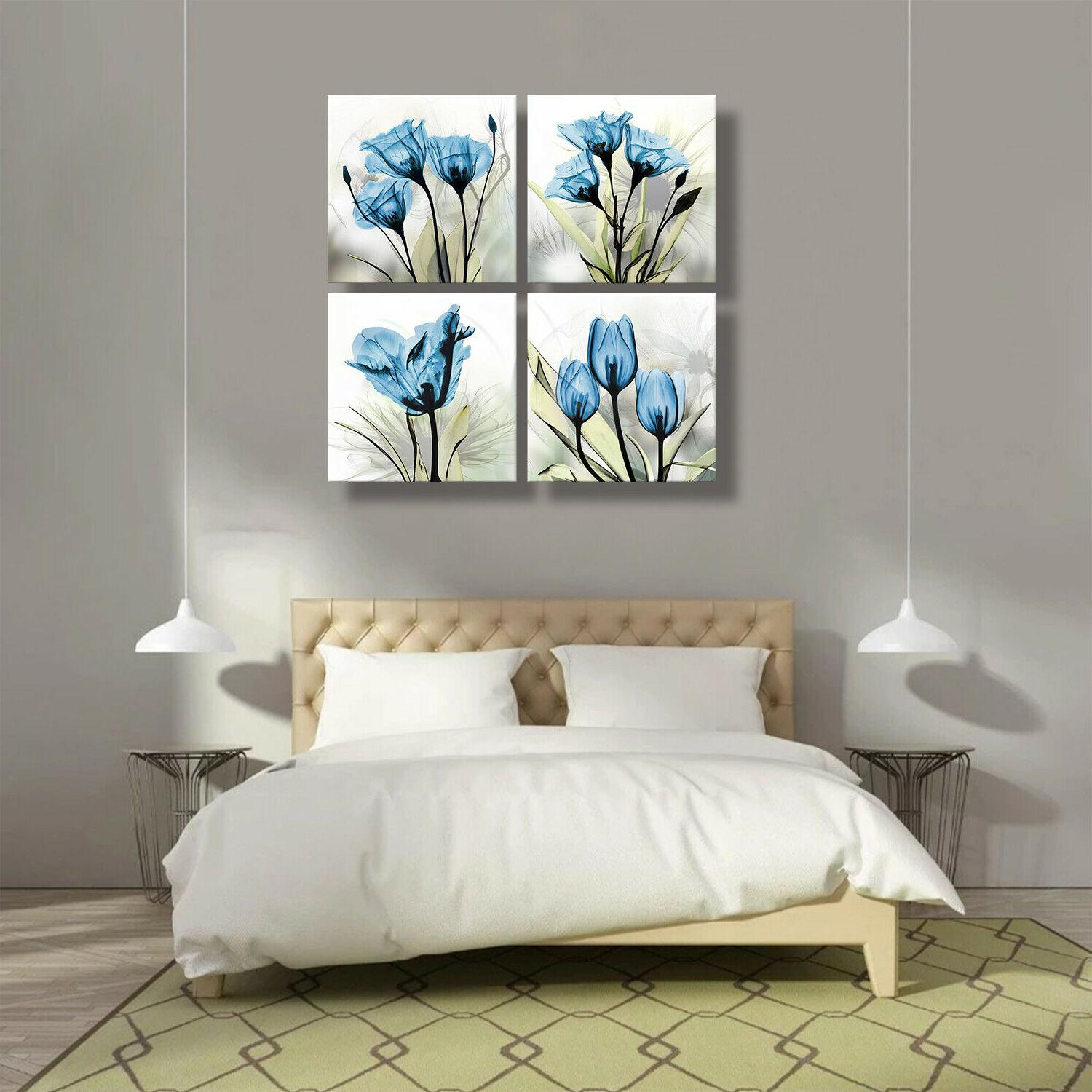 Flower Canvas Wall Decor Blue for Kitchen