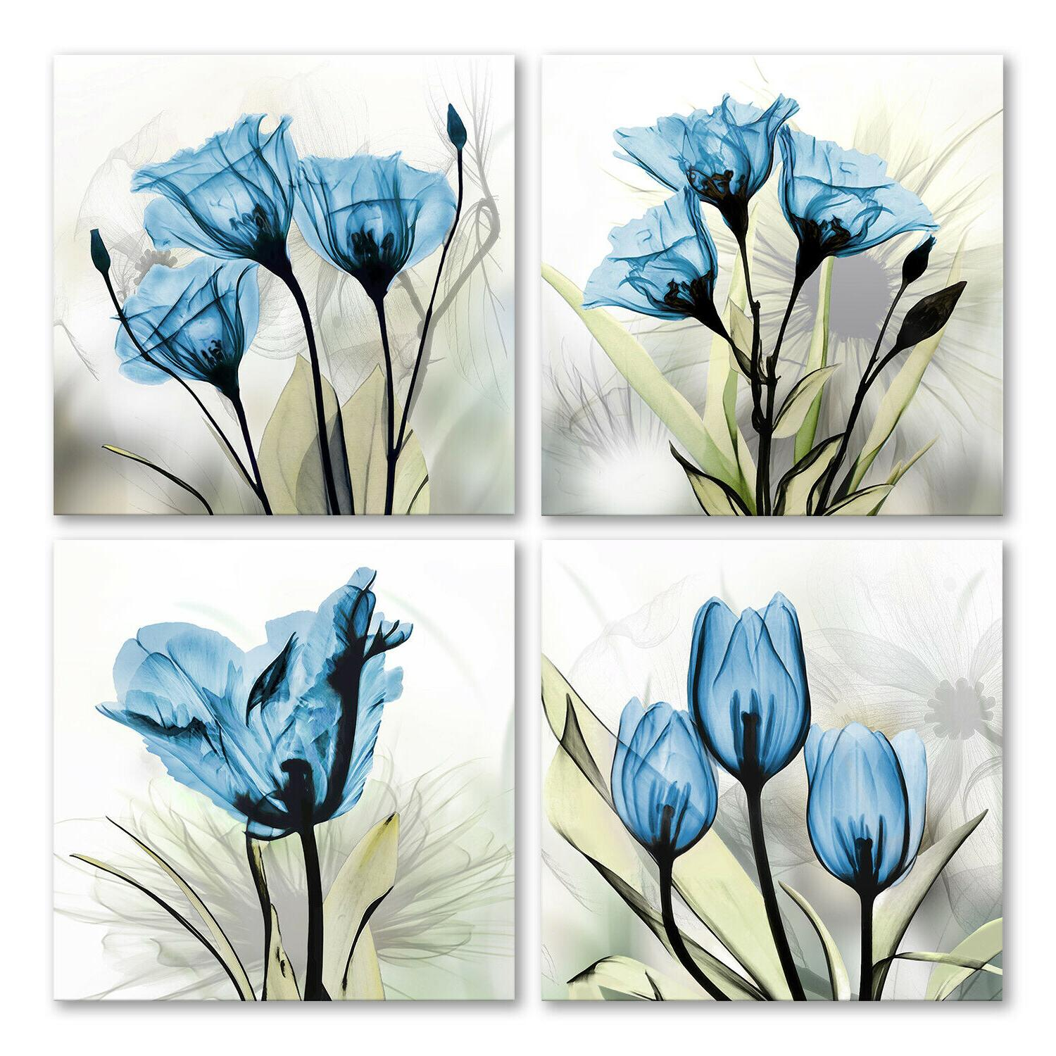 flower canvas art wall decor blue floral