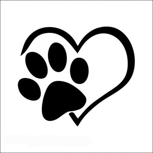 heart paw love dog car decal office