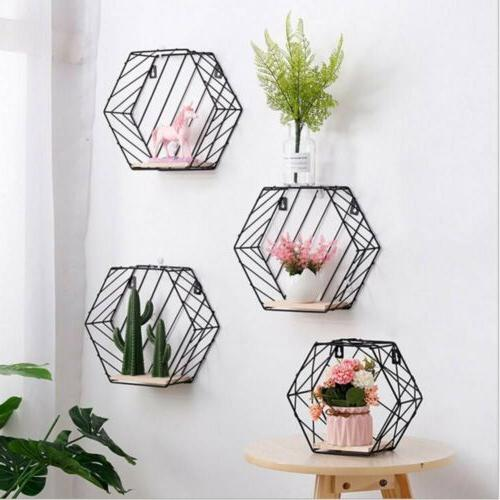 hexagon iron style wooden wall hanging display
