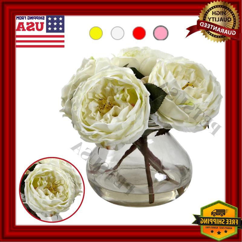 Home Office Decor Side Table Rose With Vase Valentines Gift
