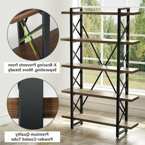 Large 3/4/5Tier Vintage Bookshelf Etagere Bookcase for Office Decor