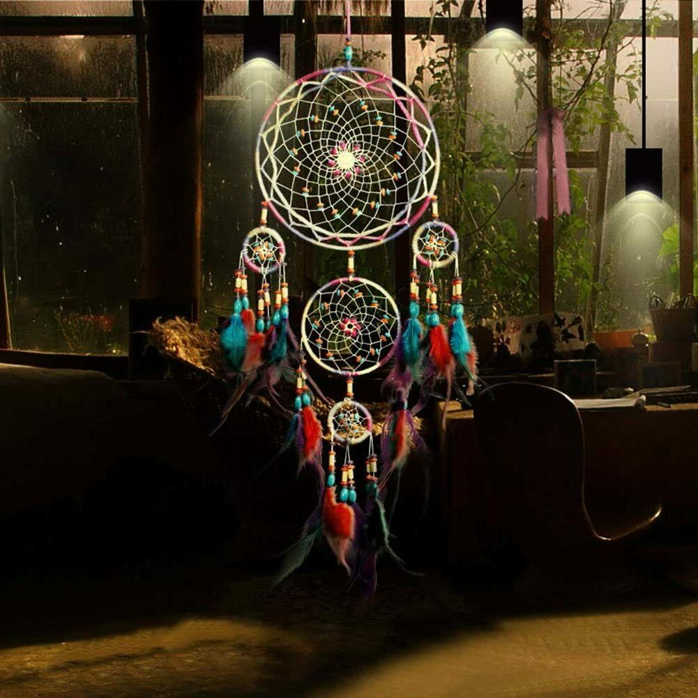 large dream catcher colorful feathers wall home